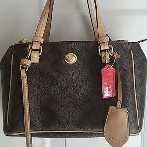 Coach signature brown and tan mini bag